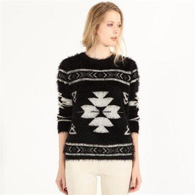 PIMKIE włochaty czarny sweter wzory vintage S