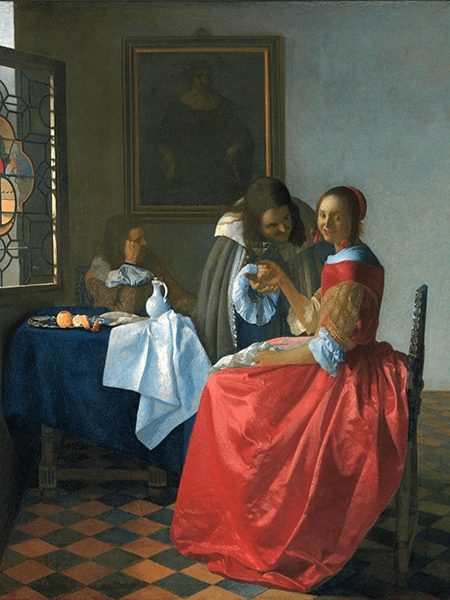 Reprodukcja Dama i dwóch panów - Vermeer 40x30