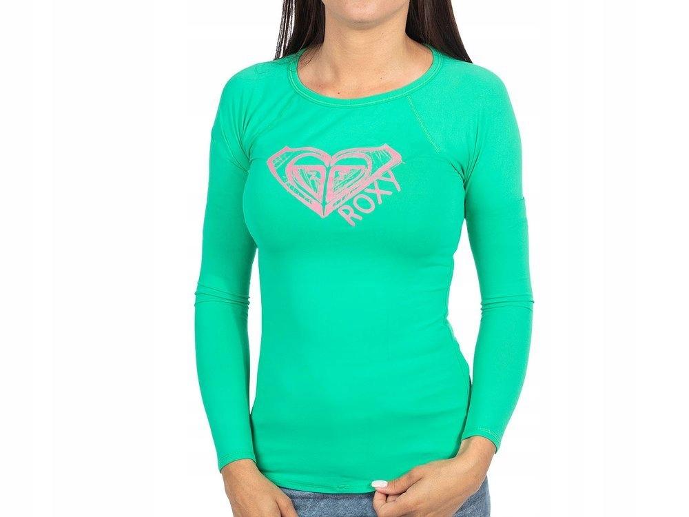 Zielona Koszulka Damska z długim rękawem ROXY Logo