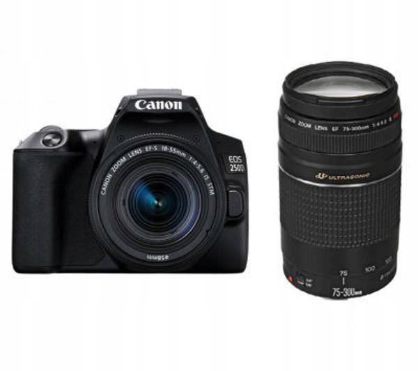 Lustrzanka Canon EOS 250D 18-55 mm + 75-30 mm WIFI