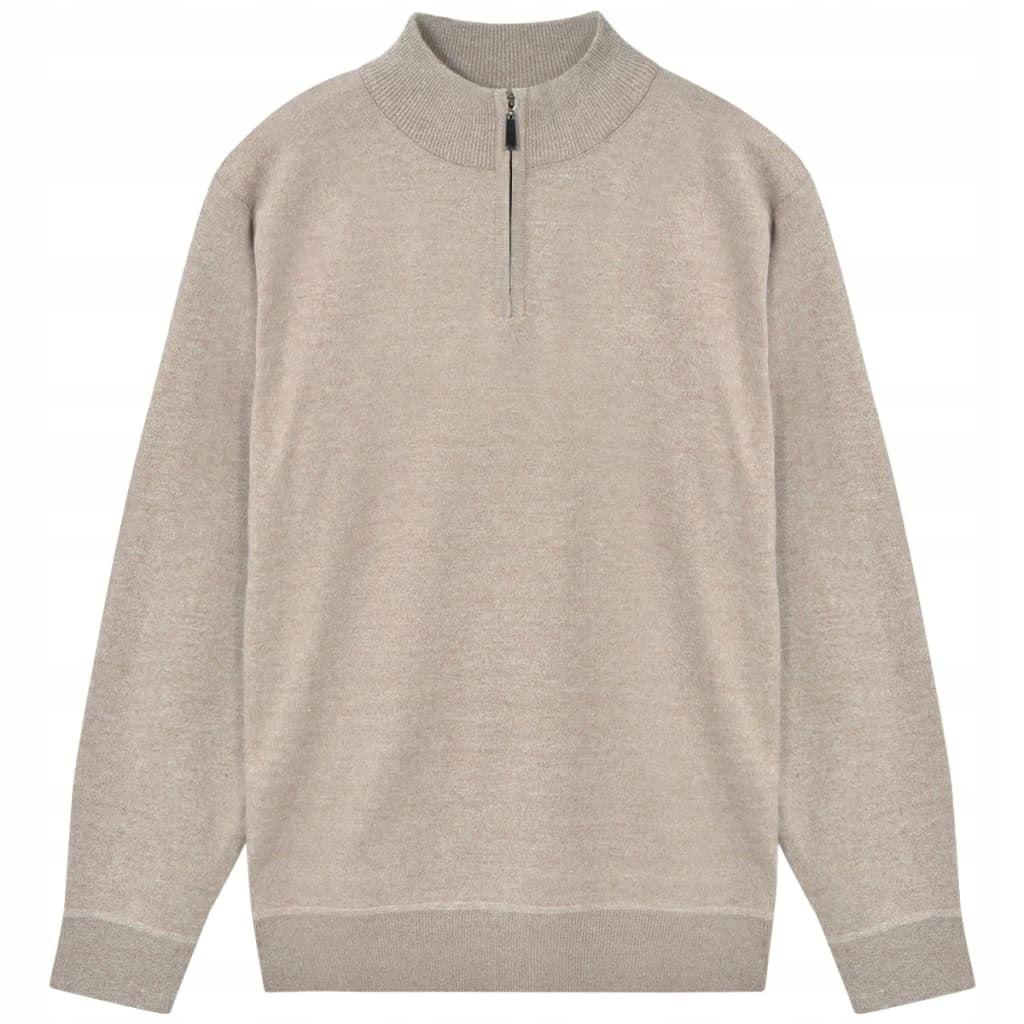 VidaXL 5 swetrów męskich na suwak, beż, M