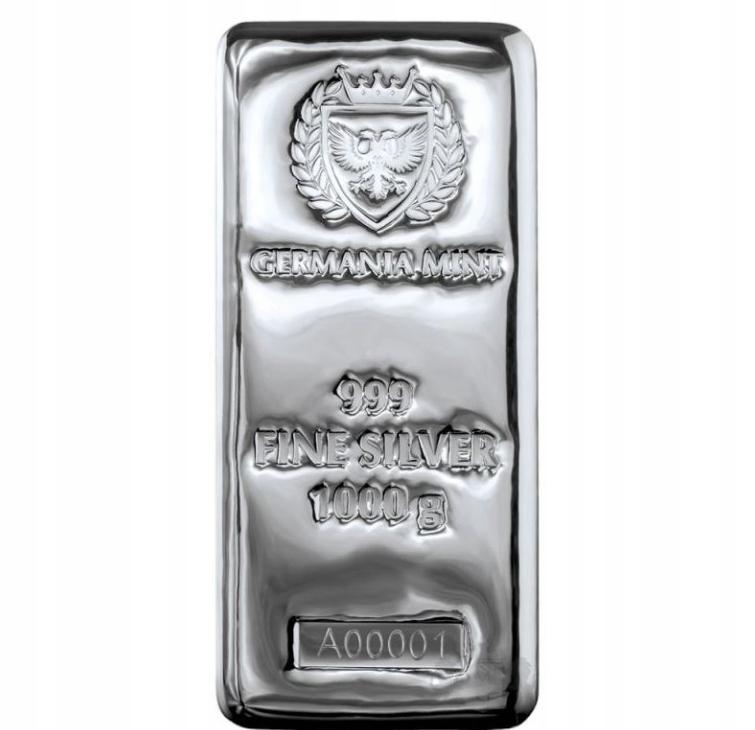 SZTABKA SREBRA 1000g GERMANIA MINT SREBRO 999