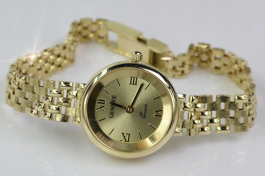 Prześliczny 14k złoty damski zegarek Geneve lw007