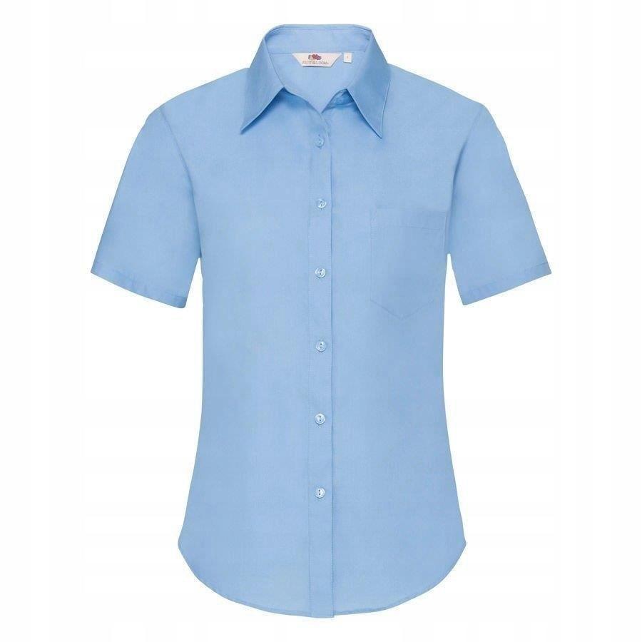 DAMSKA koszula FRUIT kr.rękaw POPLIN błękitna XL