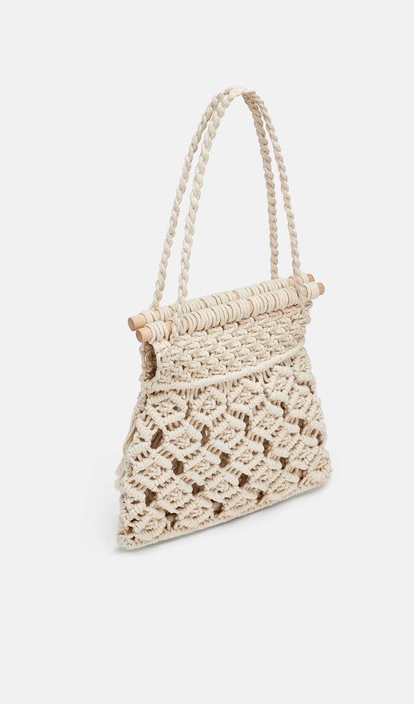 Zara tekstylna torba koszyk typu shopper