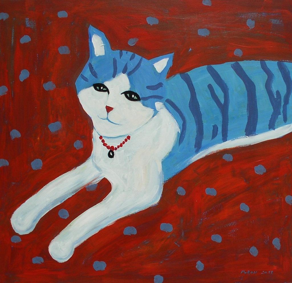 OKAZJA! Kot na czerwonym, 49x52 cm koty kot