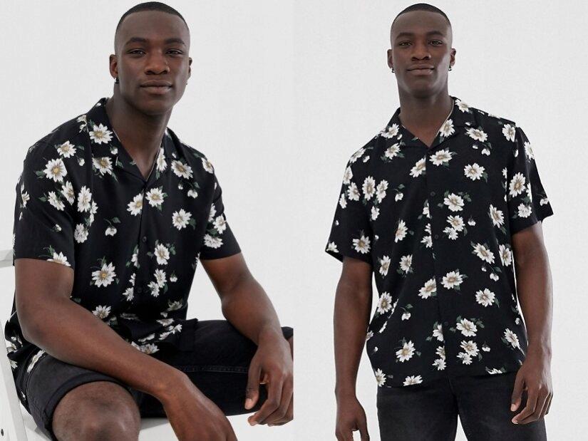 Czarna kwiatowa koszula męska 2XL