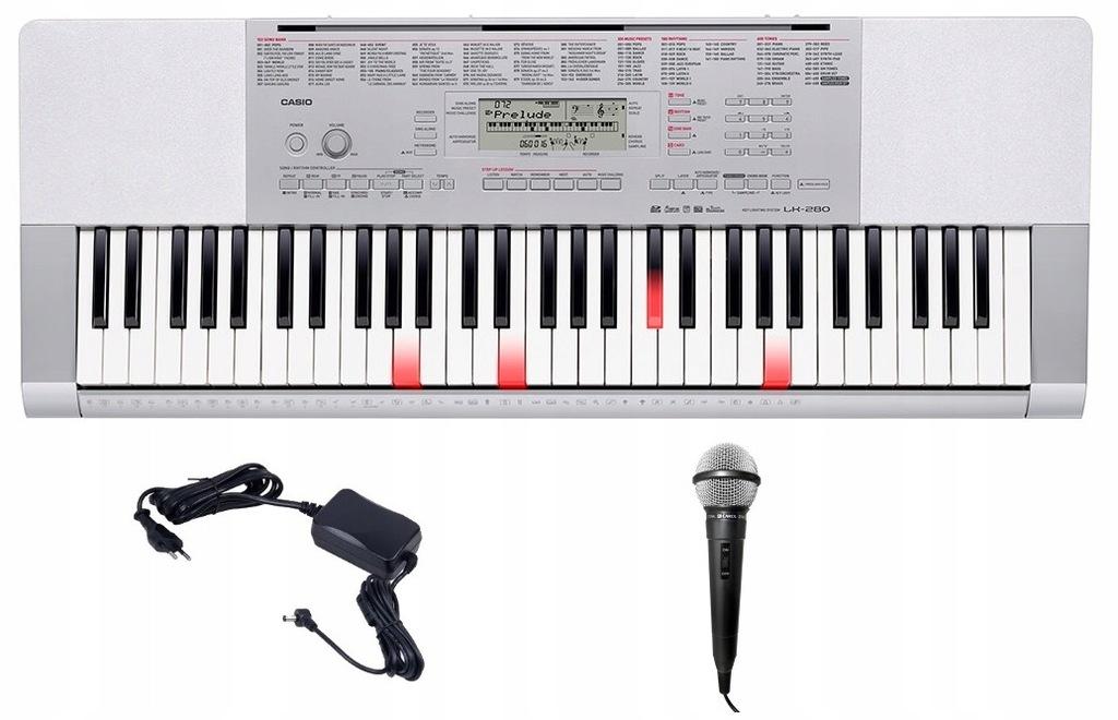 Keyboard Casio LK 280 PULPIT MIKROFON ŚWIECĄCE KL.