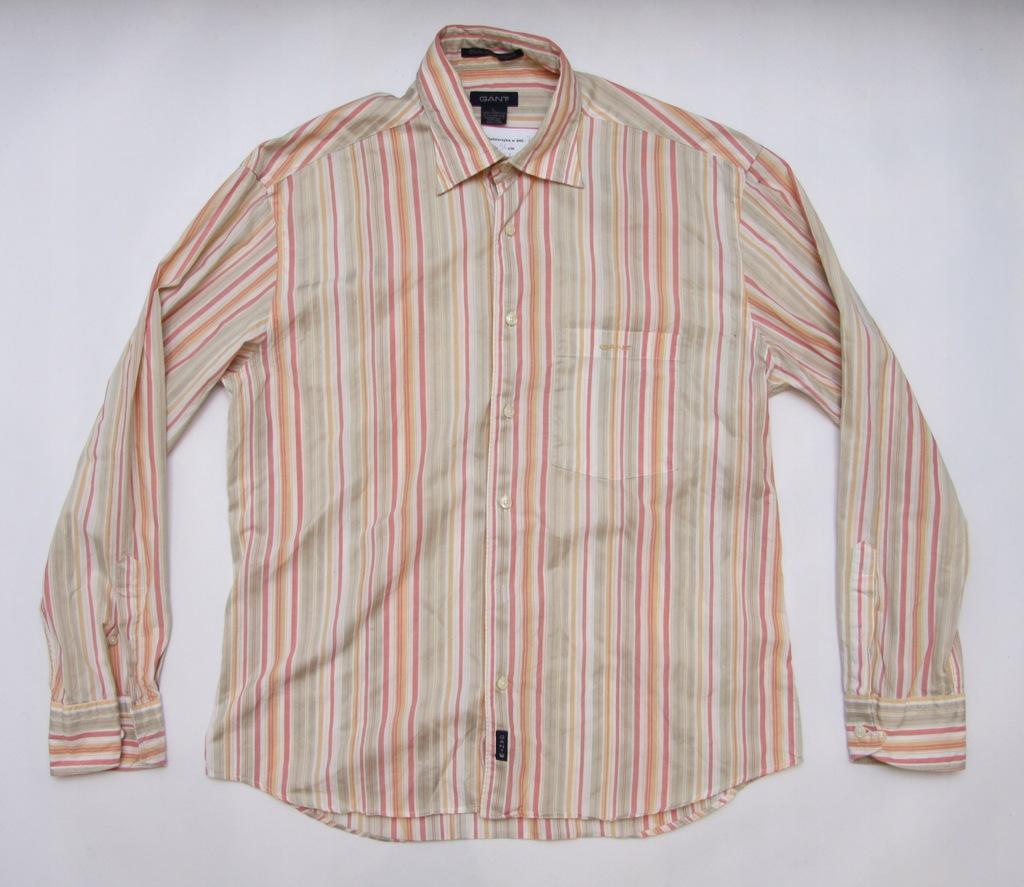 GANT modna koszula męska PASKI 100% bawełna L