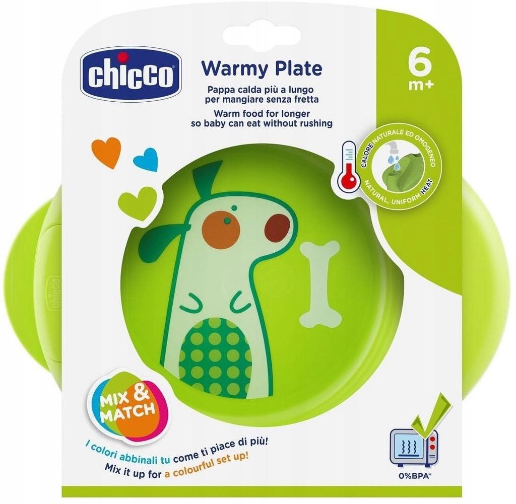 Chicco Podgrzewany talerz 6m+-zielony do karmienia