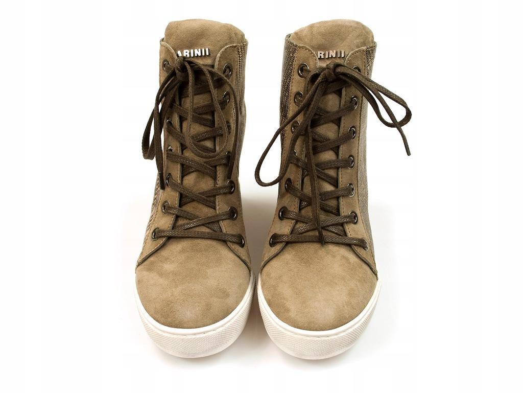 sneakersy Carinii kryty koturn botki skóra 2kol %