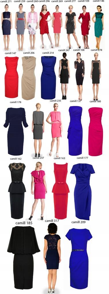 CAMILL 147 ołówkowa sukienka z marszczeniami kolor