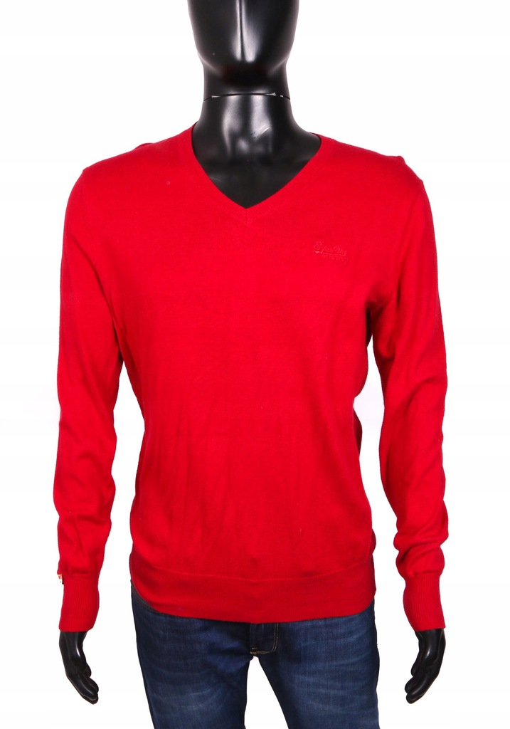 *Superdry Sweter Męski V-Neck Bawełna Red L