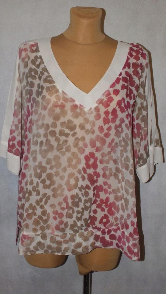 Kremowa bluzka Panterka Plus Size Rozmiar 48 #142