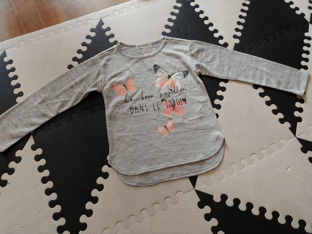H&M cienki sweterek szary motylki 122-128cm no