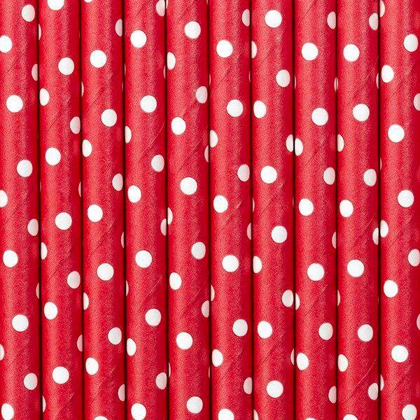Słomki papierowe,czerwony, 19,5cm(1 op. / 10 szt.)
