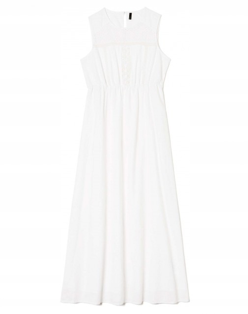 Sukienka BENETTON biała letnia koronka haft 36 S