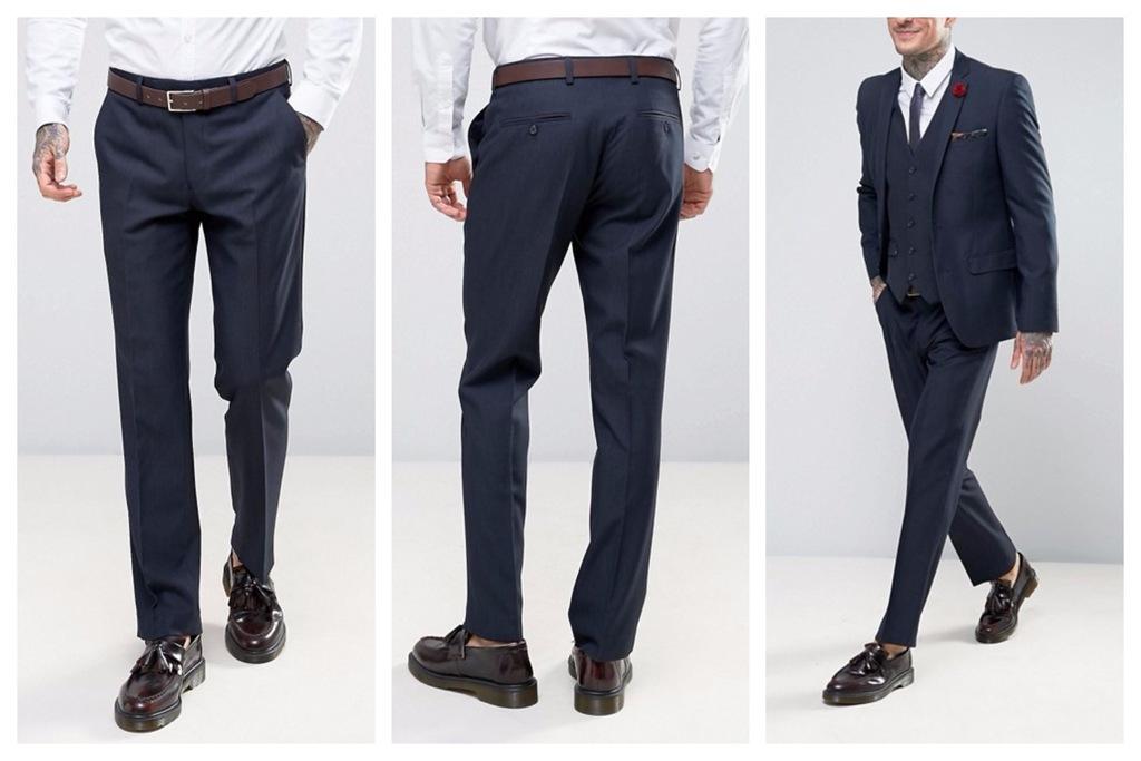 mo13 spodnie eleganckie granatowe slim fit W32 L32