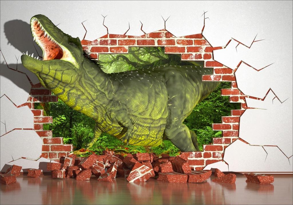 FOTOTAPETA dinozaur dziura cegła krokodyl 350x245
