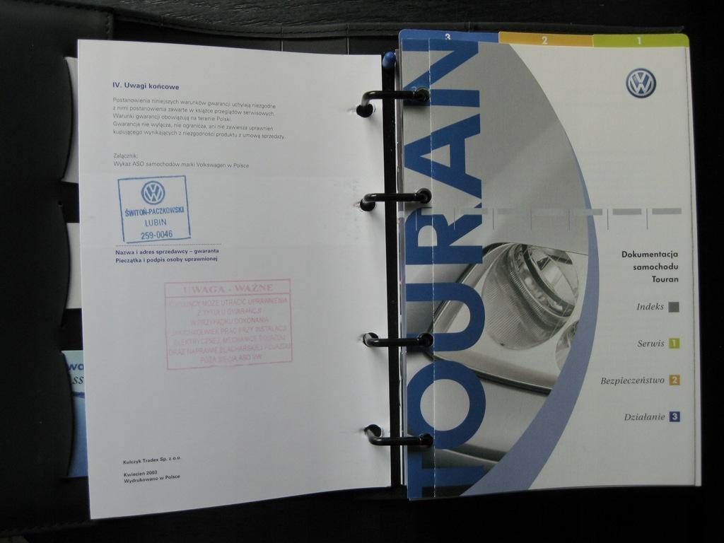VW TOURAN I I Polska instrukcja VW Touran 03-06