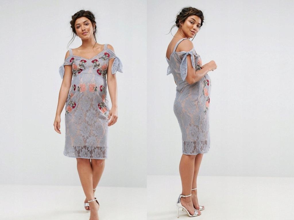 Hope & Ivy - Sukienka w haftowanej koronce XL