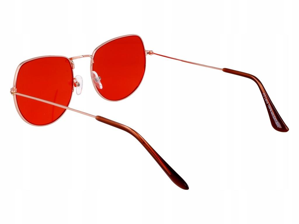 Okulary słoneczne owalne LENONKI vintage CZERWONE