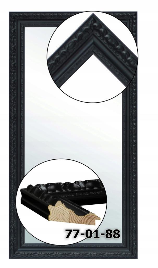 Lustro w ramie czarnej 120x60 srebrne złote miedź