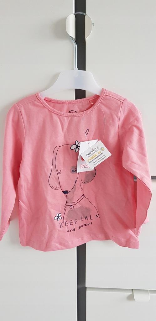 COOL CLUB różowa nowa bluzka piesek 80 metka