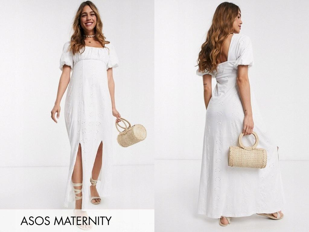DESIGN Maternity Ażurowa maxi sukienka wyciecia 40