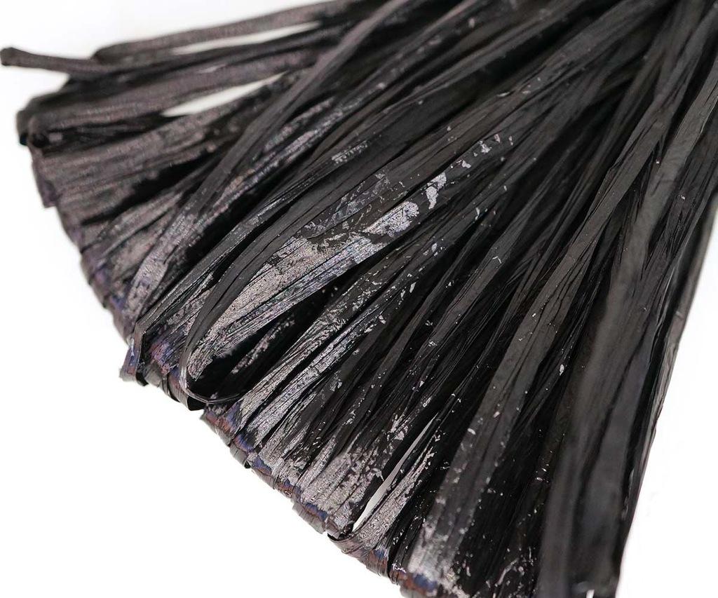 5m czarna perła płaska rafia pasek nylon haft