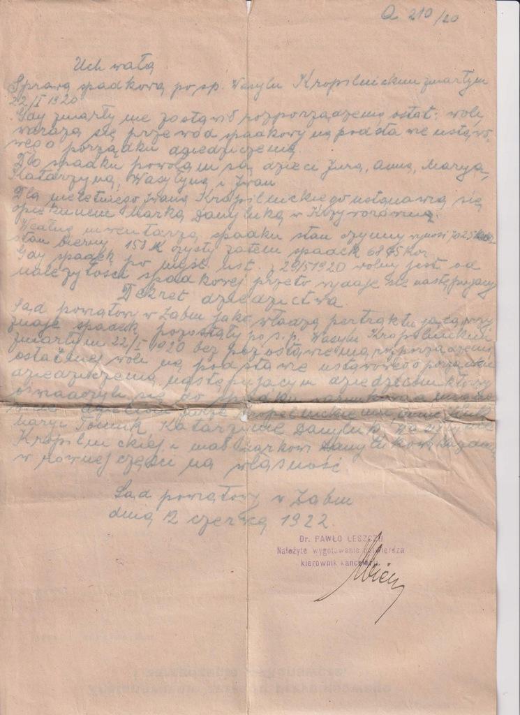 ŻABIE UCHWAŁA SĄDU POWIATOWEGO 1922