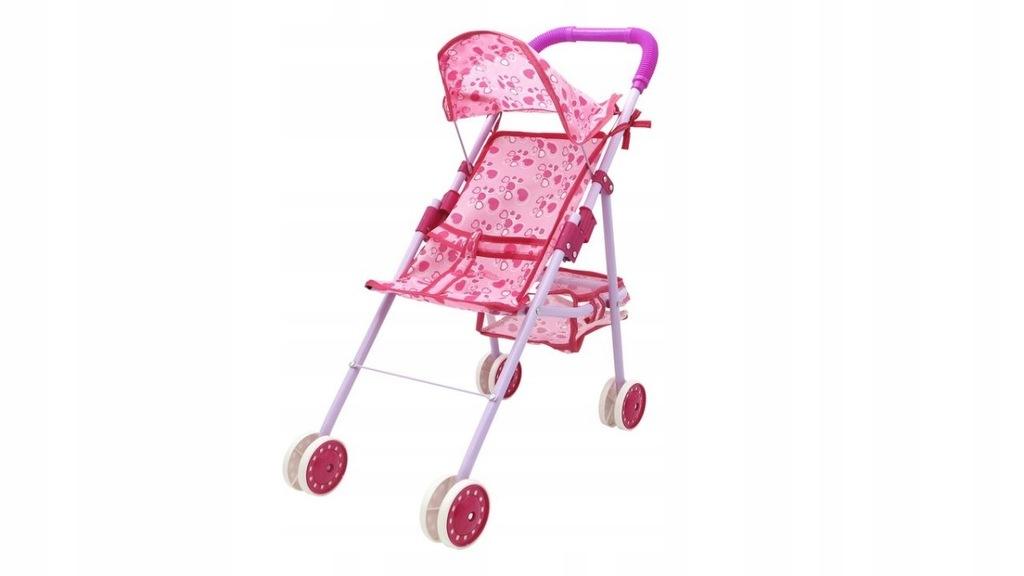 Wózek Dziewczynki dla lalek spacerówka różowy skła