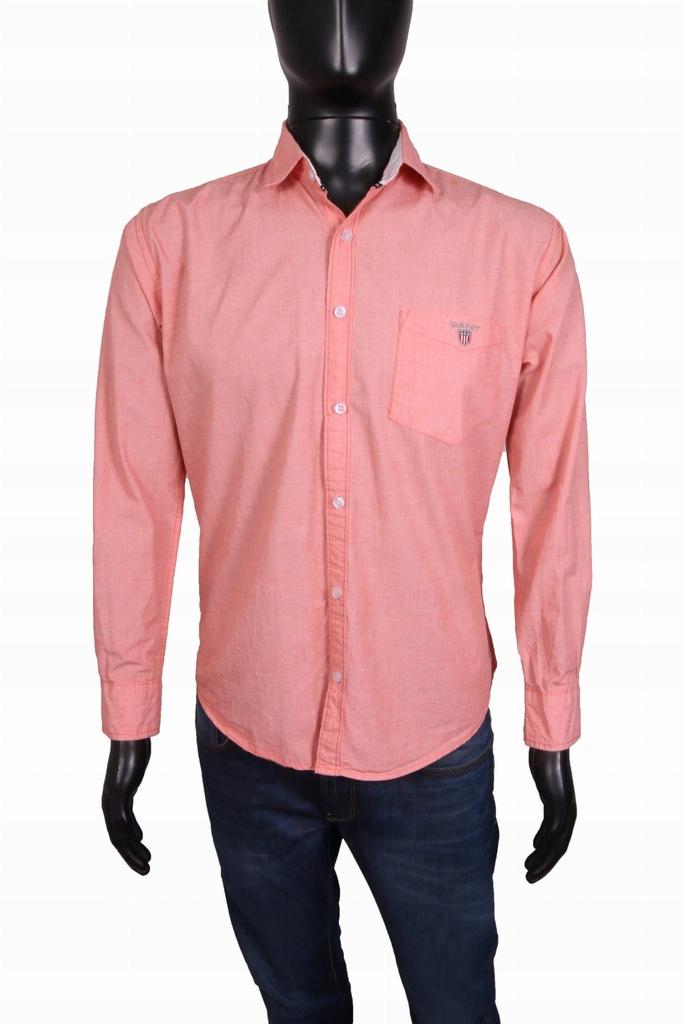 *Gant Koszula Męska Taliowana Bawełna Róż r L