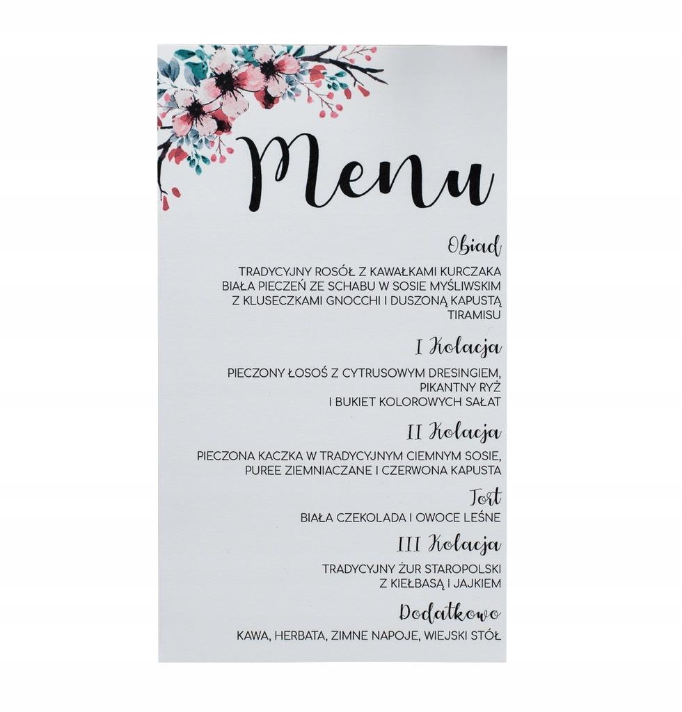 Menu weselne karta dań na stół rustyka jesienne