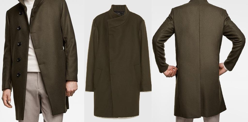ZARA męski płaszcz elegancki asymetryczny zima M