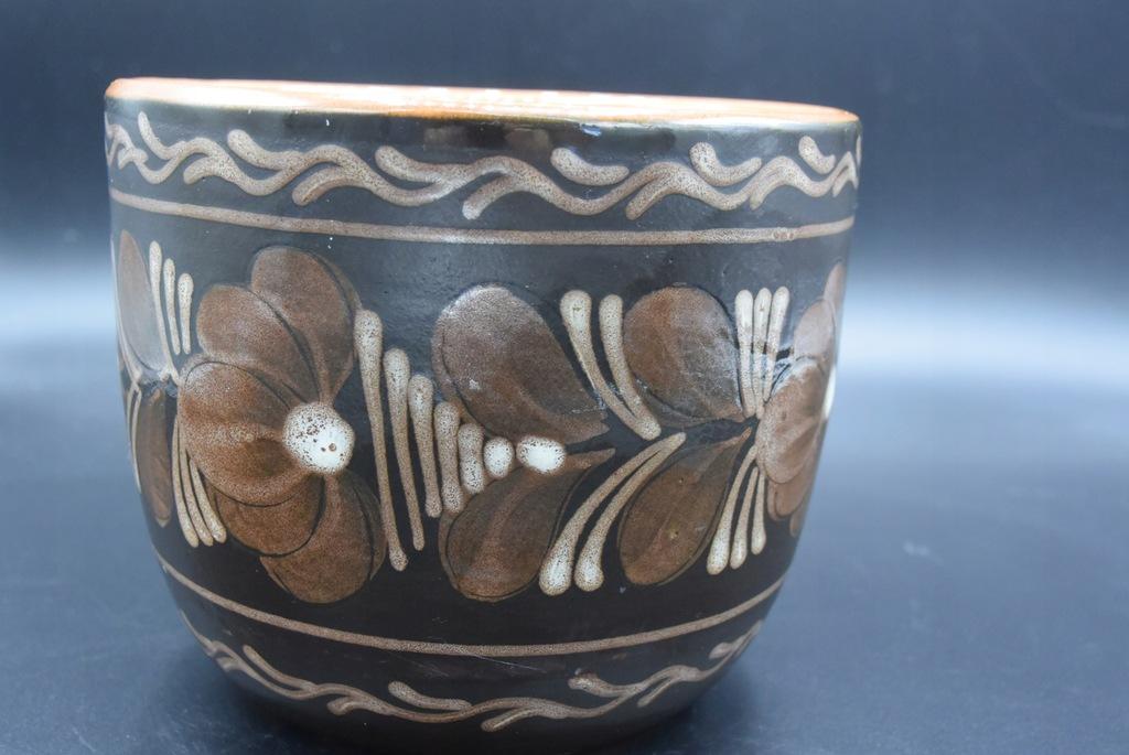 Doniczka ceramiczna 14cm malowana lata 70
