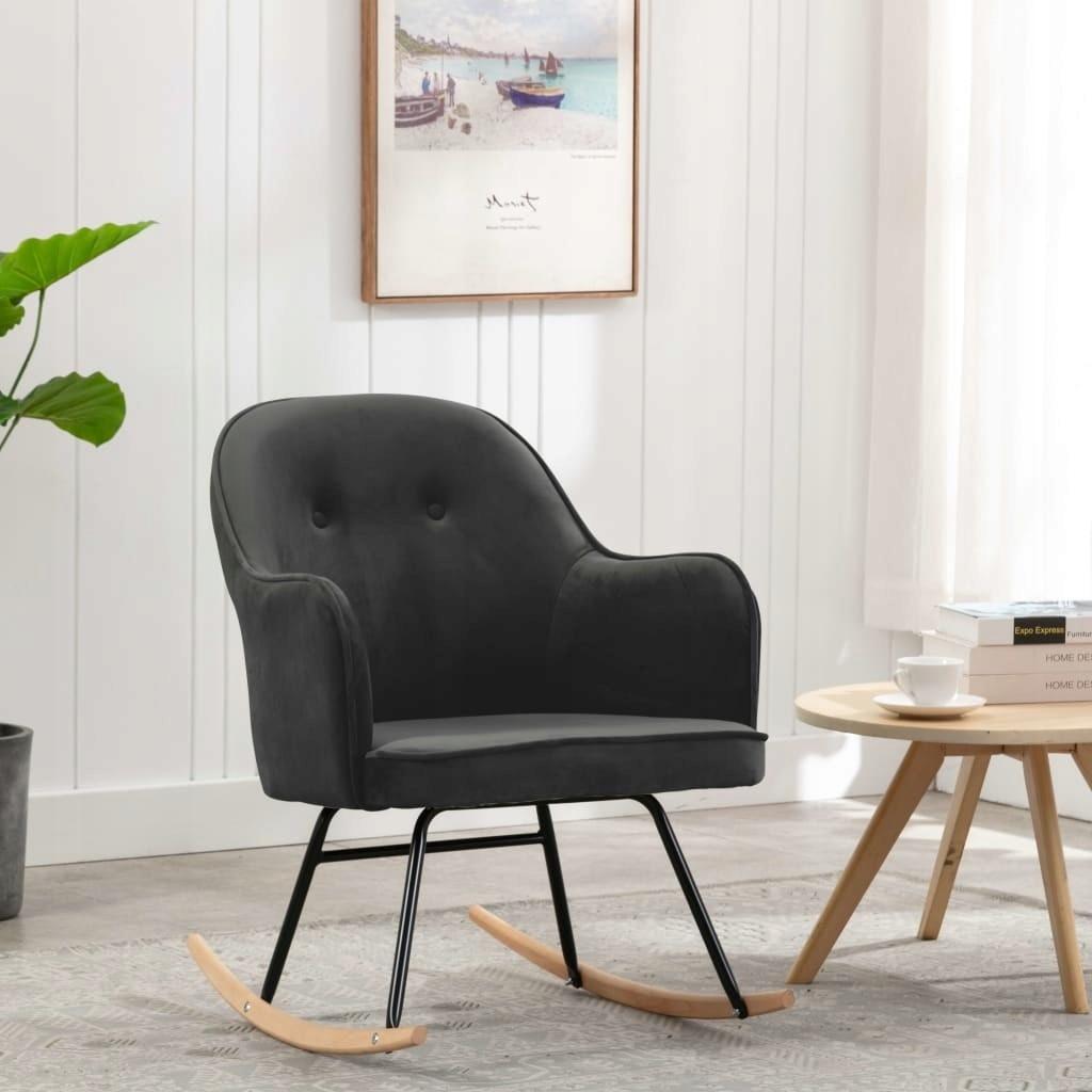 stradeXL Fotel bujany, ciemnoszary, tapicerowany a