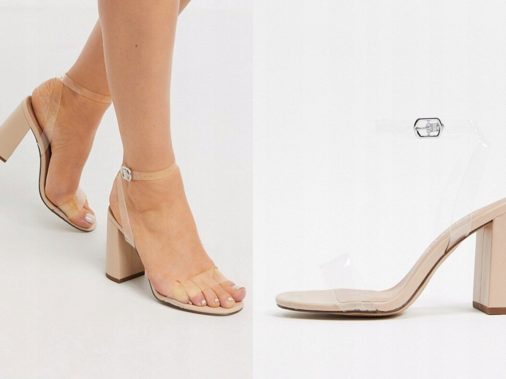 New Look Jasnobeżowe sandały na obcas 40
