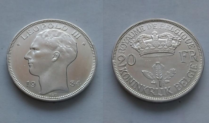 BELGIA 20 Fr.1934 r Leopold III UNC !!!!!!!!!