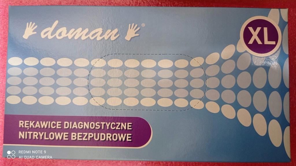 Rekawiczki Doman, nitrylowe bezpudrowe 100szt. XL