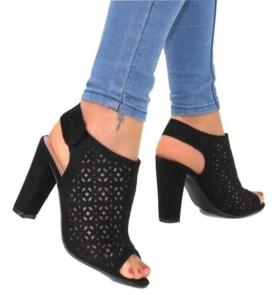 Sandały damskie nubuk ażurowe buty na słupku Maya