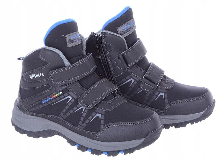 Buty Dziecięce zimowe na rzep czarno-niebieski 33