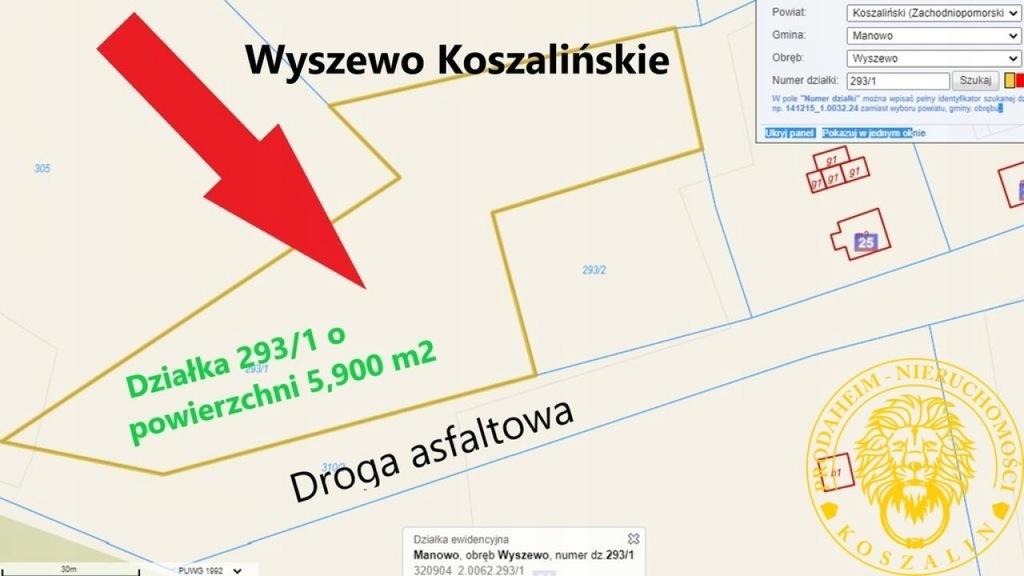 Działka, Wyszewo, Manowo (gm.), 5900 m²