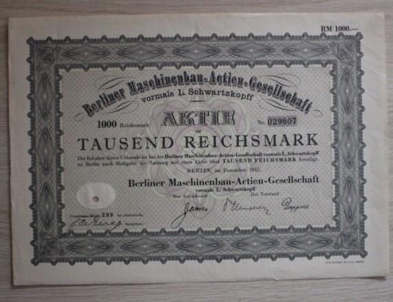 1000 Reichsmark 1932 -AKCJA ,OBLIGACJA