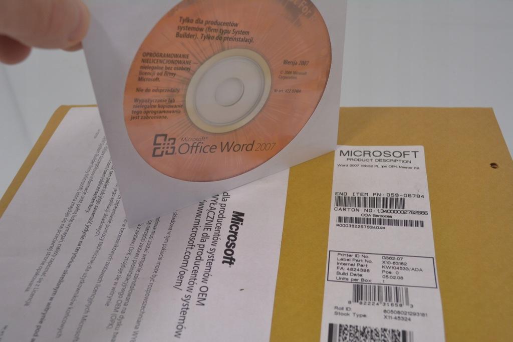 Microsoft Word 2007 PL oryginalna płyta bez klucza