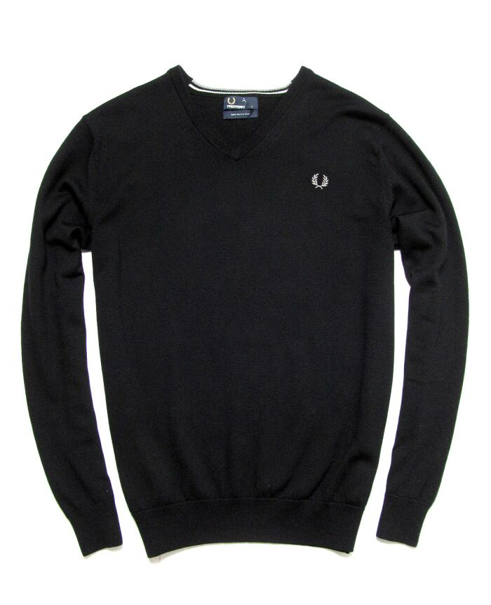 FRED PERRY V-NECK MERINO * SWETER 100%WEŁNA * L