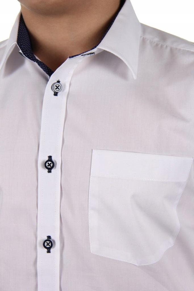 Biała koszula chłopięca elegancko sportowa r.116  DQnEl