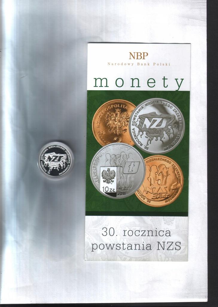 Moneta 10zł z 2011 -30.r. pow. NZStudenc +fold.NBP