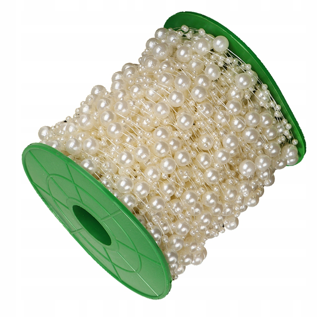 koraliki sztuczne perły sznurek - Beżowy
