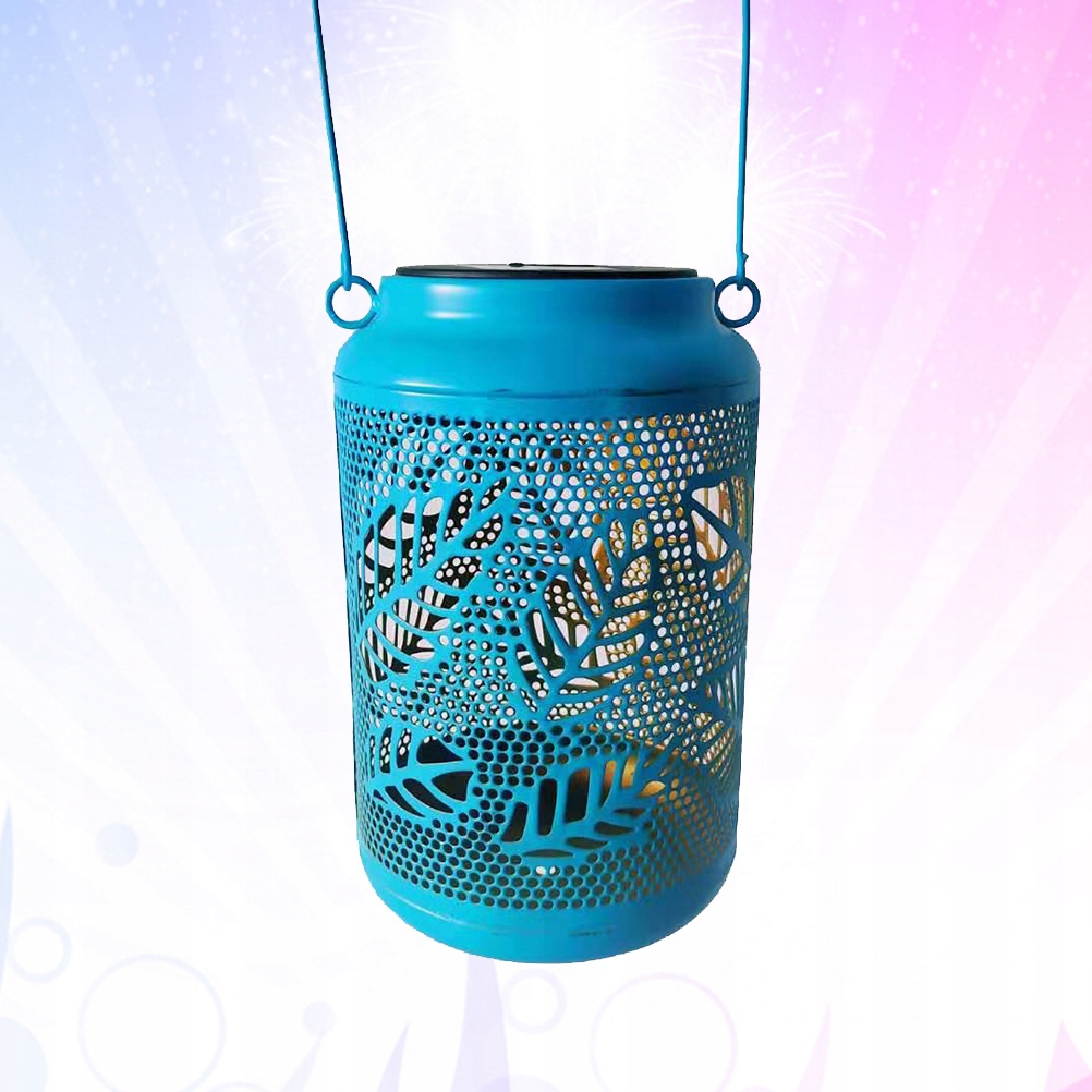 1pc Solar Power Iron Art Portable Lantern Light La